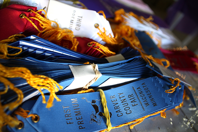 Carver County Fair prize ribbons