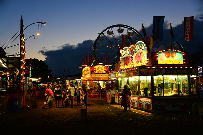 Carver County Fair midway at night